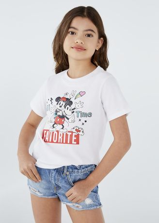 White color Tops . Disney's Mickey & Minnie Mouse Print Round-Neck T-shirt -