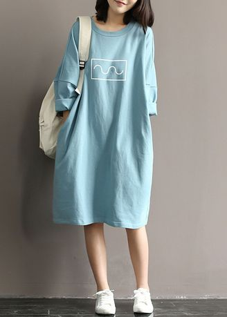 Light Blue color Dresses . Artistic Loose Print Knitted Bat-Sleeve Skirt Dress With Bottom -