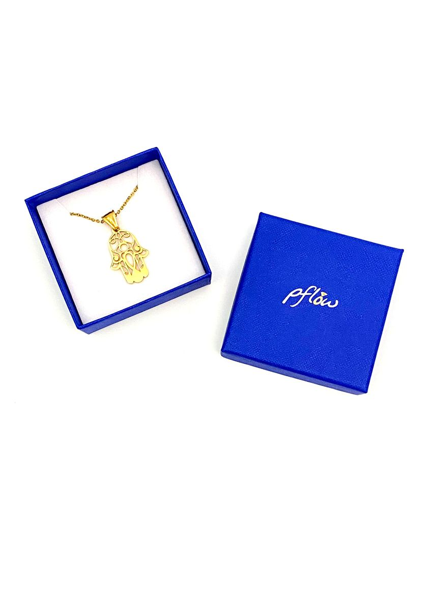 """Gold color  . pflow Khamsa Necklace with 16"""" Gold Chain -"""