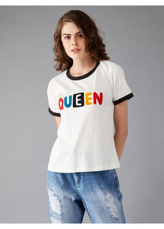 White color Tees & Shirts . Patch Queen Round Neck T-Shirt -