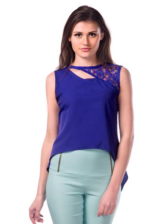 Blue color Tops and Tunics . Love For Abstract Uneven Hem Top -