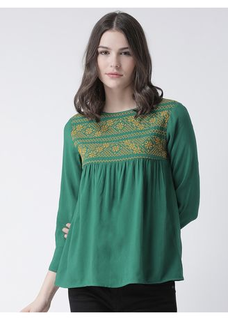 Green color Tops and Tunics . The Vanca Women's Flare Top -