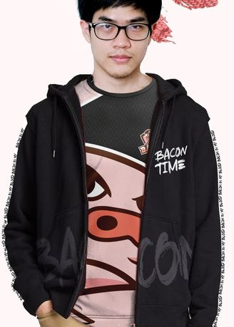 Black color Jackets . Bacon Time - Hoodie - Spring 2020 -