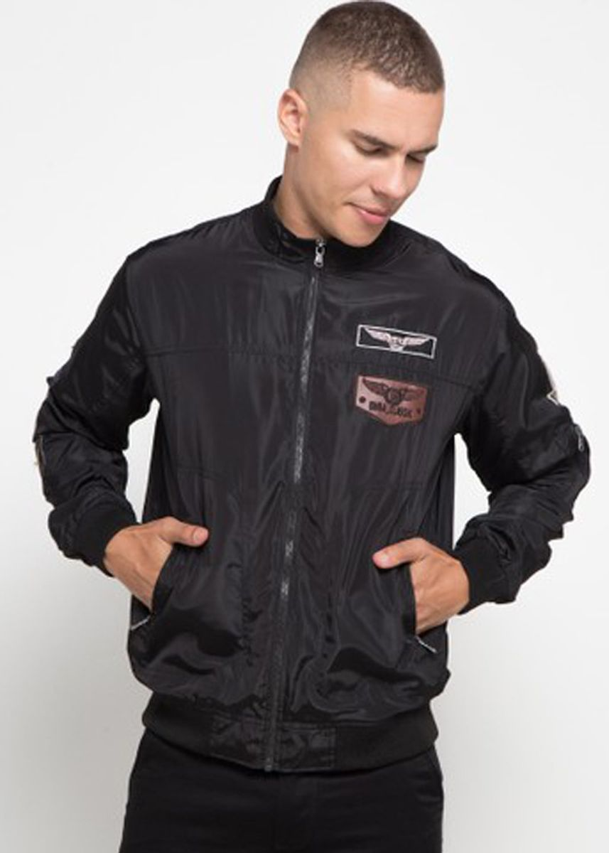 Black color Outerwear . Emba Classic-Wales Jacket Pria Warna Hitam -
