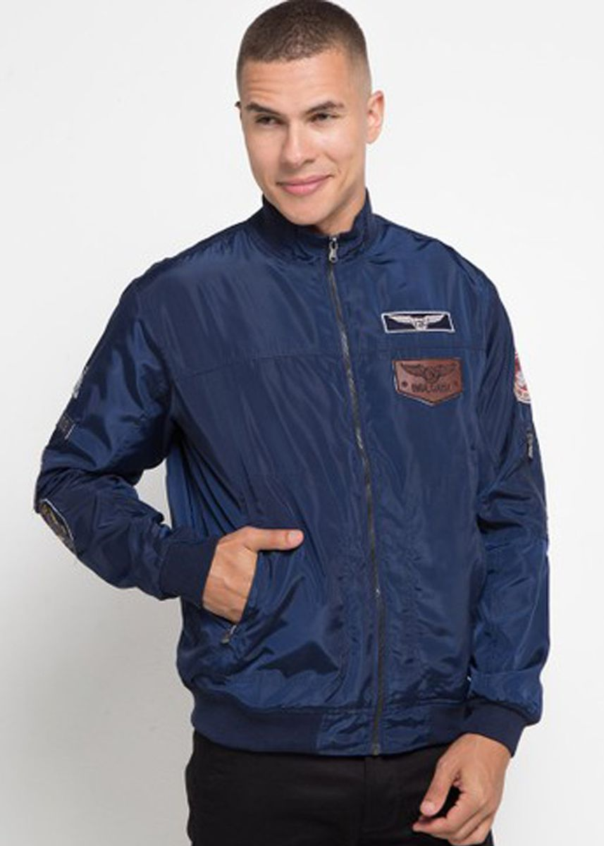 Navy color Outerwear . Emba Classic-Wales Jakcet Pria Warna Navy -