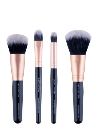 Pink color Applicators . BRUSHWORKS Travel Mini Makeup Brush Set -