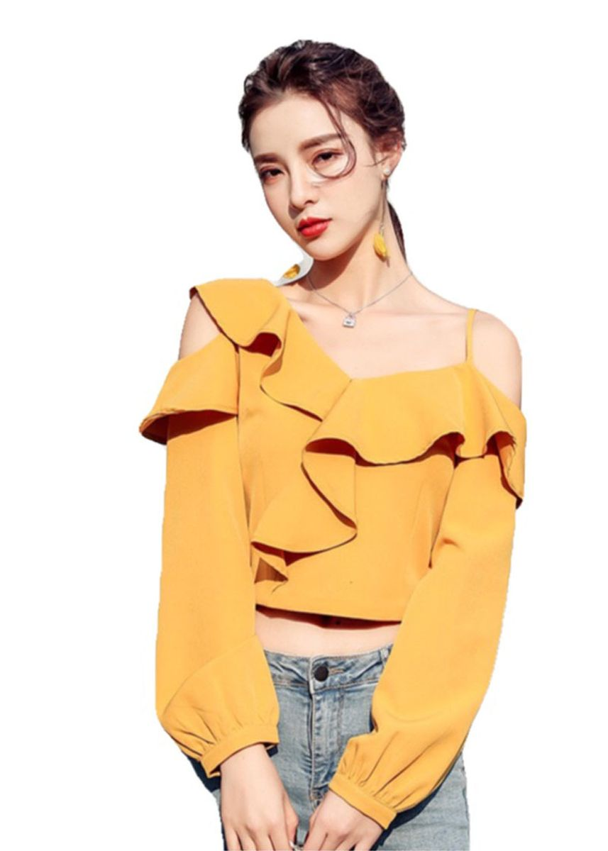 Yellow color Tops and Tunics . Women's Korean Asymmetric Short Long-Sleeved Tops -