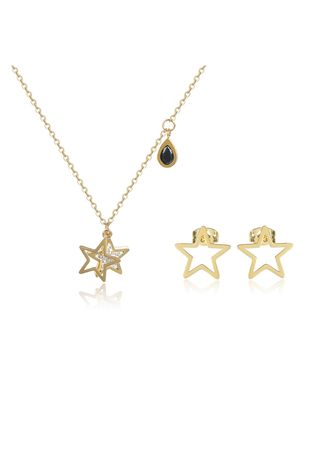 Yellow color  . Mio Mio by Silverworks Star with CZ Earrings and Necklace Set X4452 -