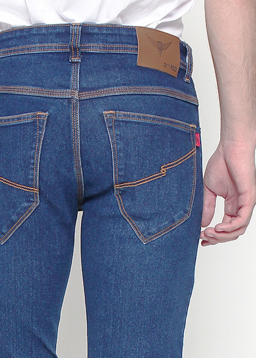 Navy color Jeans . 2Nd Red Celana Jeans Pria Blue Raw Wash -