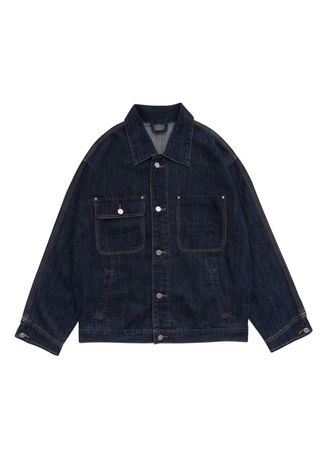 สีกรม color แจ็คเก็ต . Women's Loose Lapel Bright Blue Denim Coat -