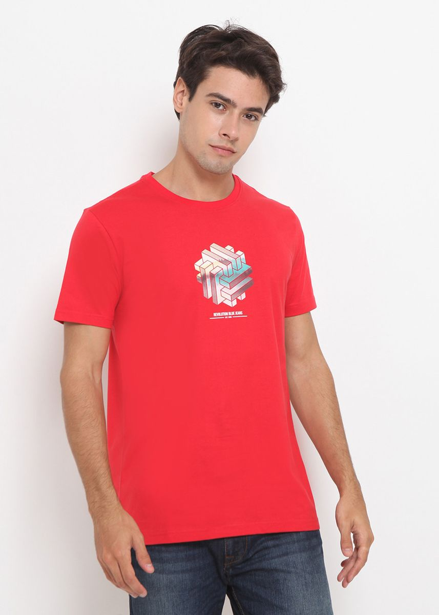 Red color T-Shirts and Polos . RBJ Kaos Combed Pria  -