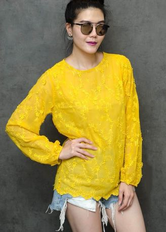 Yellow color Tops and Tunics . Chorchomcloset Sisley Embroided Blouse -