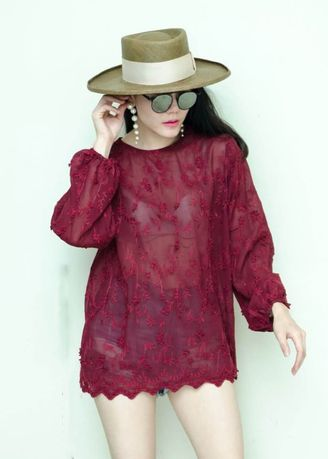 Red color Tops and Tunics . Chorchomcloset Sisley Embroided Blouse -