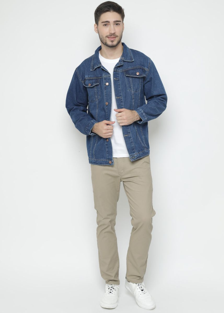 Navy color Outerwear . Basalt Jacket Jeans Pria - Navy -