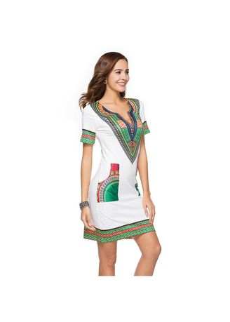 White color Dresses . Elegant Ethnic Style Printed Mini Dresses -