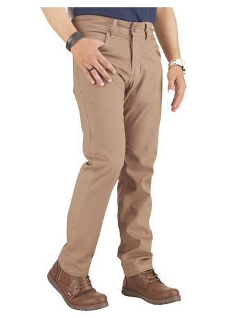 Beige color Casual Trousers and Chinos . Celana Panjang Katun Kasual Pria Catenzo -