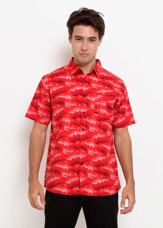 Red color Casual Shirts . Police Kemeja Printing Regular Fit Pria -