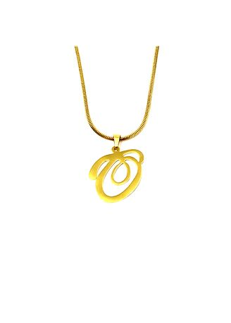 "Gold color  . pflow Autograph O Pendant w/ 16"" Square Snake Chain -"