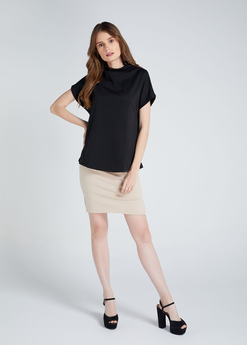 Black color Tops and Tunics . D Fashion Engineer Kathrine High Neck Blouse -