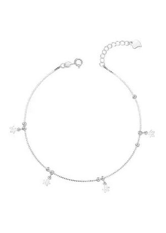Silver color  . Silver Kingdom Original Italy 92.5 Silver Ladies' Bracelet  Plain Star with Beads Design -