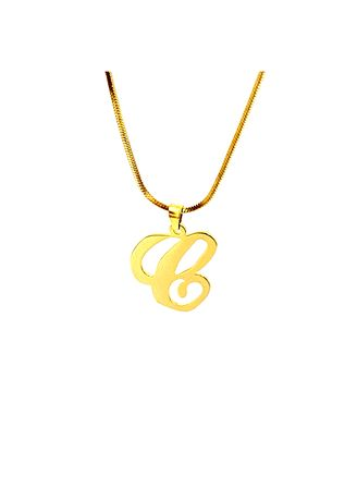 "Black color  . pflow Autograph C Pendant w/ 16"" Square Snake Chain -"