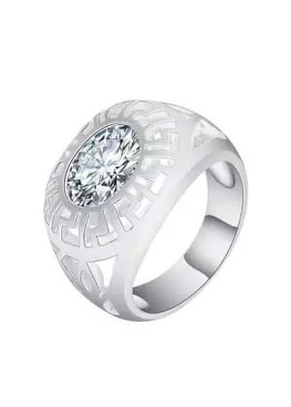 Silver color Rings . Silver Kingdom Original Italy 92.5 Silver Classic with Stone Ring  for Men's -