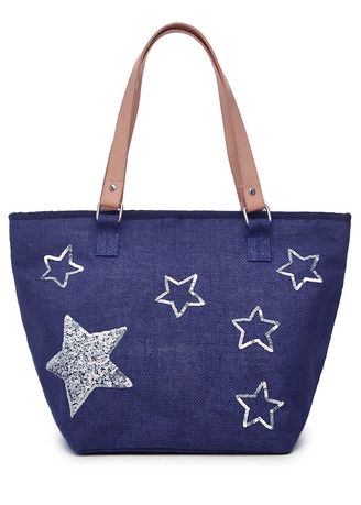 Blue color Hand Bags . Stars Printed Beach Bag -