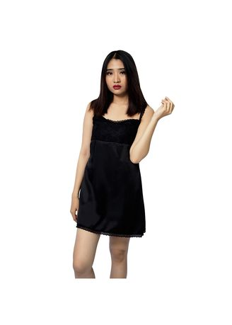 Black color Night Suits . FOLVA tanktop dress baju rumah satin 1335BDR hitam all size -