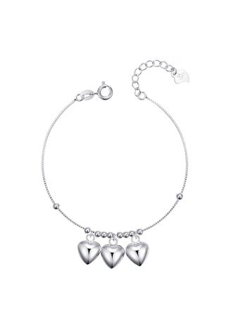 Silver color  . Silver Kingdom Original Italy 92.5 Silver Ladies' Bracelet Three Hearts with Beads -