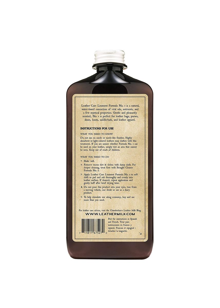 No Color color Polishes & Cleaners . Chamberlains Leather Care Liniment - Formula No. 1 - 12 oz -