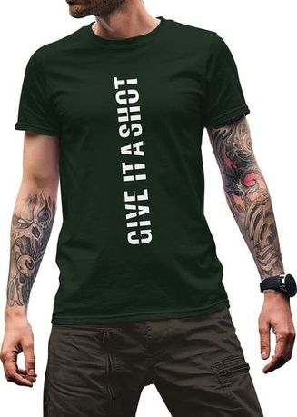 Green color T-Shirts and Polos . Printshop T-Shirt Give It A Shot -