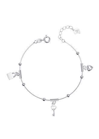 Silver color  . Silver Kingdom Original Italy 92.5 Silver Ladies' Bracelet Padlock and Key with Heart Design -