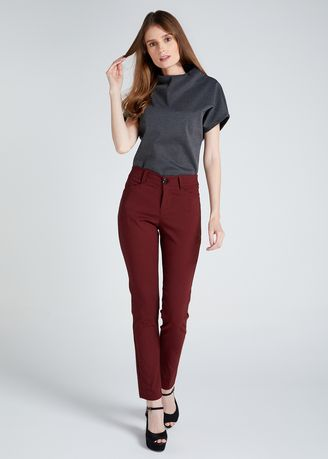 Red color Trousers . D Fashion Engineer Wear-to-Work Stretch Pants -