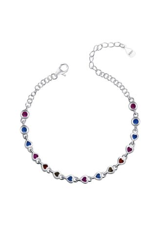 Silver color  . Silver Kingdom Original Italy 92.5 Silver Ladies' Bracelet Colorful with Heart Stone Design -