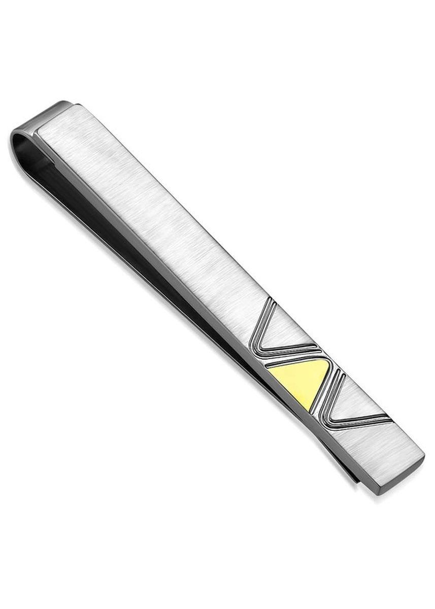 Silver color Ties . Stainless Steel 2-Tone Lighting Bolt Bar Necktie Tie Clip -