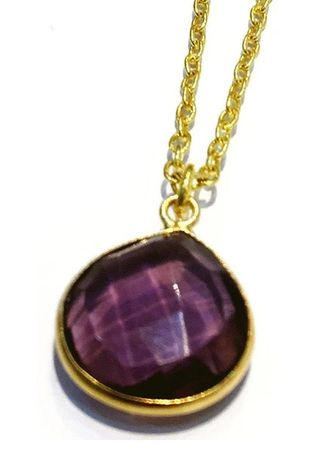 Purple color  . Amethyst Pendant Necklace in Brass -
