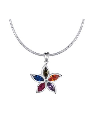 Silver color  .  Silver Kingdom Original Italy 92.5 Silver Necklace with Pendant Colorful Flower Stone -