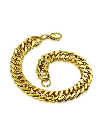 Gold color Bracelets . Gold Plated Stainless Steel Chain Bracelet -