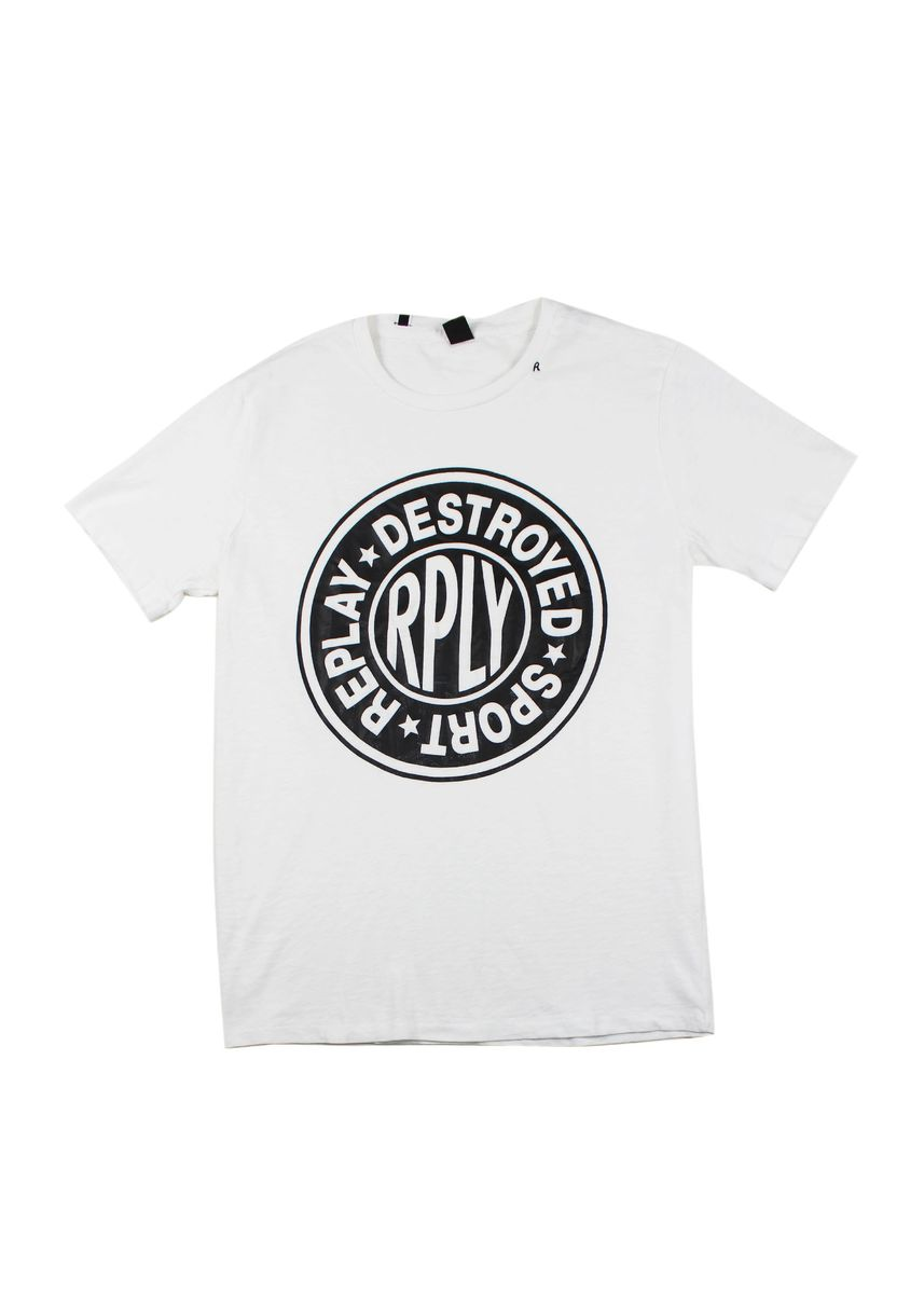 White color T-Shirts and Polos . Replay Men's Round Neck T-Shirt -