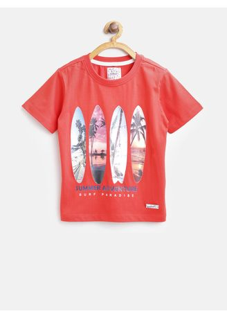Red color Tops . Nauti Nati Boys Red Printed Round Neck T-shirt -