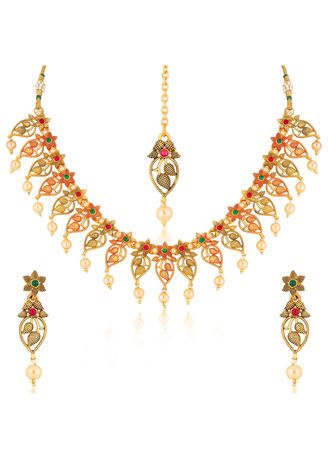 Gold color  . Sukkhi Blossomy Flora lGold Plated Necklace Set For Women -