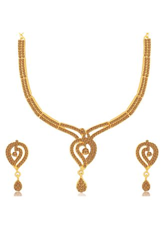 Brown color  . Sukkhi Flawless LCT Gold Plated Necklace Set for Women -