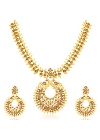 Brown color  . Sukkhi Shimmering LCT Gold Plated Peacock Necklace Set for Women -