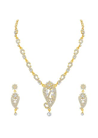 Gold color  . Sukkhi Ritzy Gold Plated Floral Necklace Set For Women -
