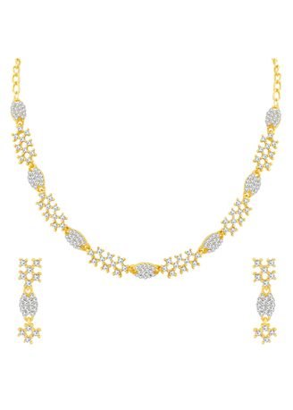 Gold color  . Sukkhi Fashionable Gold Plated Necklace Set For Women -
