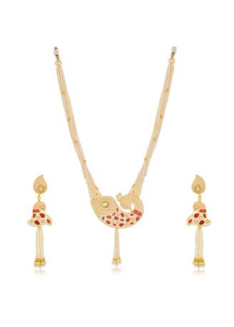 Red color  . Sukkhi Shimmering Collar Gold Plated Necklace Set for Women -