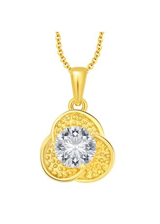 Gold color  . Sukkhi Angelic Solitaire Gold Plated Cz Pendant For Women -
