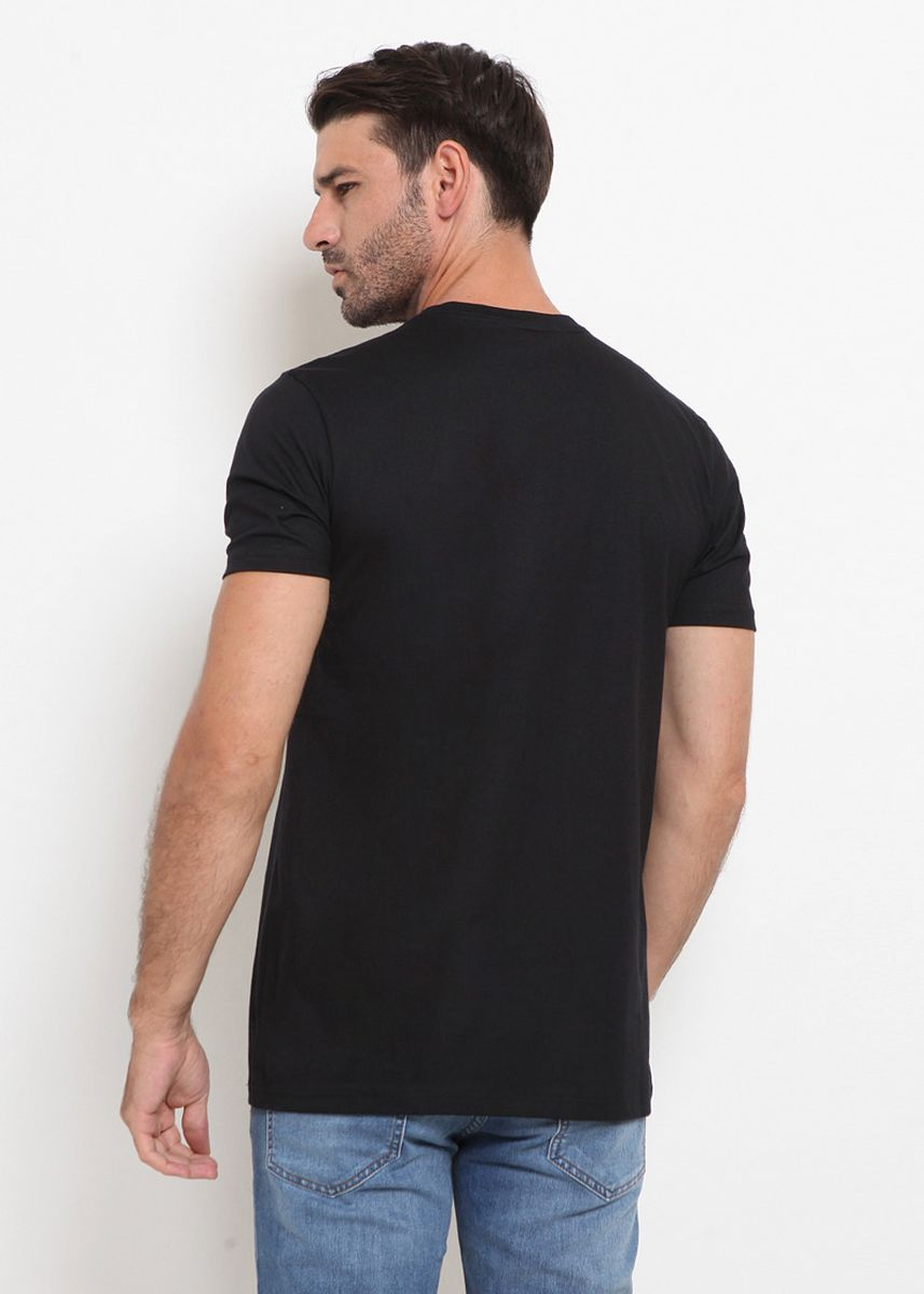 Black color T-Shirts and Polos . Police Kaos Cotton Combed Pria  -