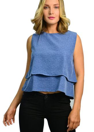 Blue color Tops and Tunics . UROPA Sleeveless Layer Blouse -