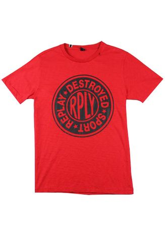 Red color T-Shirts and Polos . Replay Men's Round Neck T-Shirt -